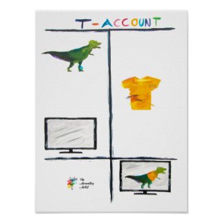 Funny Accounting Art Poster - T-Rex T-Account