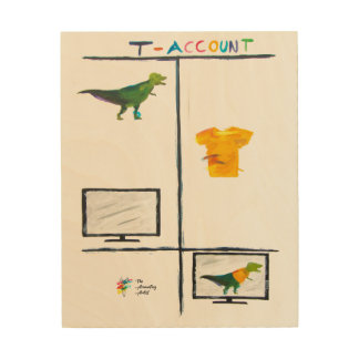 Funny Accounting Art Wood Print - T-Rex T-Account