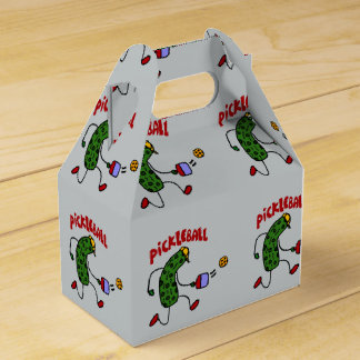 Funny Action Pickle Playing Pickleball Cartoon Favor Box