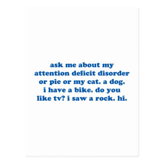 Funny ADD ADHD Quote - Blue Print Postcard