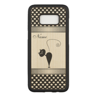 Funny Adorable cute cat  polka dots personalized Carved Samsung Galaxy S8 Case