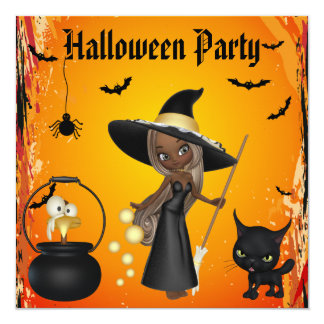 Funny African American Witches Brew Halloween 5.25x5.25 Square Paper Invitation Card