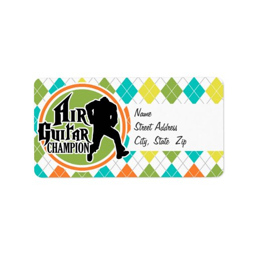Funny Air Guitar on Colorful Argyle Pattern Custom Address Labels