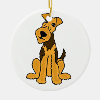 Funny Airedale Dog Puppy Round Ceramic Ornament