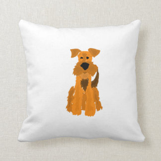 Funny Airedale Terrier Dog Throw Pillow