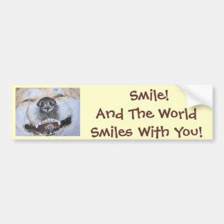funny akita dog smiling with slogan realist art bumper sticker