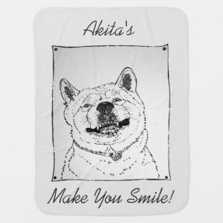 funny akita smiling portrait and slogan design dog baby blanket