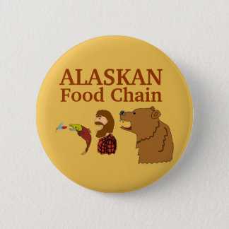 Funny Alaska Souvenir Food Chain Bear and Mosquito 2 Inch Round Button