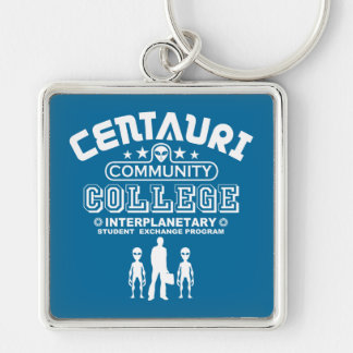 Funny Alien Community College Geek Sci-Fi Silver-Colored Square Keychain
