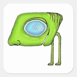 Funny Alien Monster Character Square Sticker