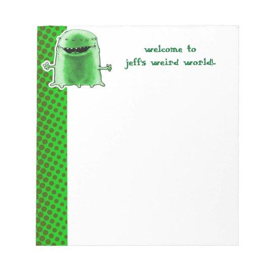 funny alien welcome to weird world cartoon notepad