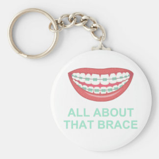 Funny All About the Brace Spoof Keychain