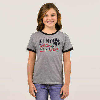 Funny All My Children Have Paws Ringer Shirt