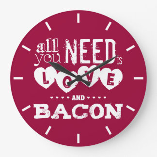 Funny All You Need is Love and Bacon Wall Clocks