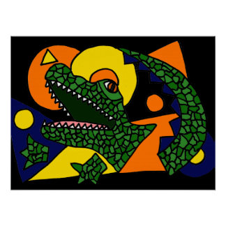 Funny Alligator Art Abstract Poster Perfect Poster