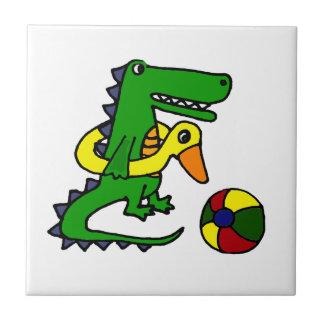 Funny Alligator at the beach Cartoon Tile