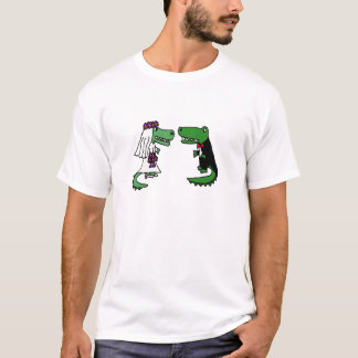 Funny Alligator Bride and Groom Cartoon T-Shirt