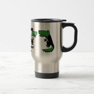 Funny Alligator Bride and Groom Cartoon Travel Mug