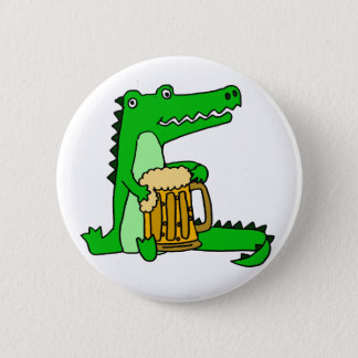 Funny Alligator Drinking Beer Cartoon 2 Inch Round Button
