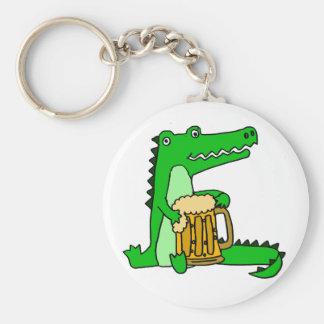 Funny Alligator Drinking Beer Cartoon Keychain