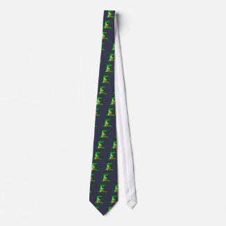 Funny Alligator Drinking Beer Cartoon Tie