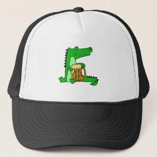 Funny Alligator Drinking Beer Cartoon Trucker Hat