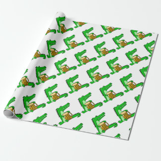 Funny Alligator Drinking Beer Cartoon Wrapping Paper