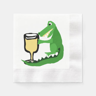 Funny Alligator Drinking Glass of White Wine Napkin