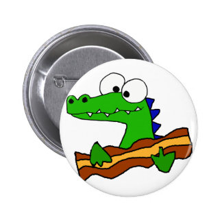 Funny Alligator Eating Bacon Artwork 2 Inch Round Button