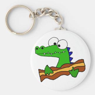 Funny Alligator Eating Bacon Artwork Keychain