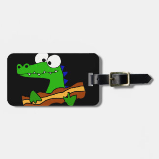 Funny Alligator Eating Bacon Artwork Luggage Tag