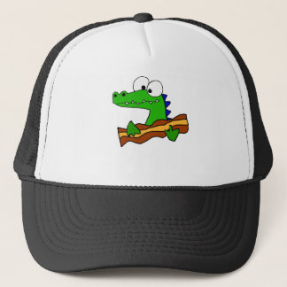 Funny Alligator Eating Bacon Artwork Trucker Hat