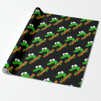 Funny Alligator Eating Bacon Artwork Wrapping Paper