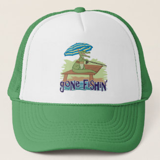 Funny Alligator Gone Fishing Trucker Hat