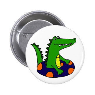 Funny Alligator in Inner Tube 2 Inch Round Button