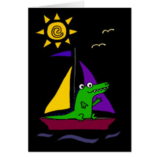 Funny Alligator on Colorful Sailboat Card