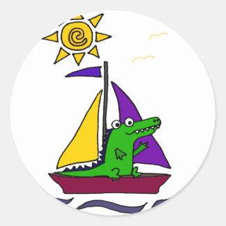 Funny Alligator on Colorful Sailboat Classic Round Sticker