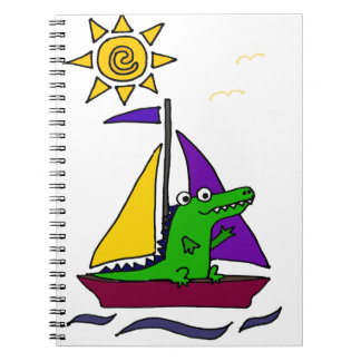 Funny Alligator on Colorful Sailboat Spiral Note Books