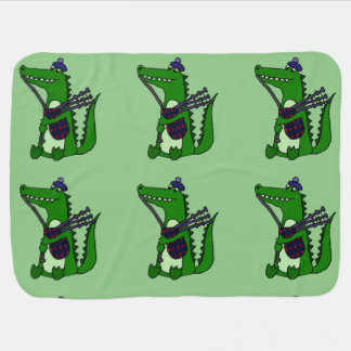 Funny Alligator Playing Bagpipes Design Swaddle Blankets