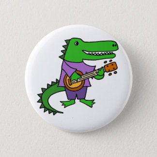 Funny Alligator Playing Banjo Cartoon 2 Inch Round Button