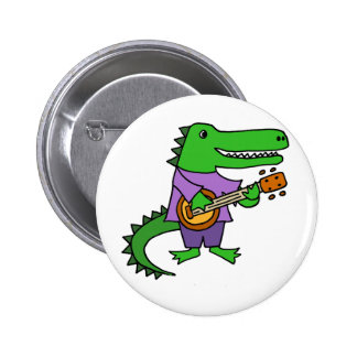 Funny Alligator Playing Banjo Cartoon 2 Inch Round Button