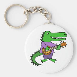 Funny Alligator Playing Banjo Cartoon Basic Round Button Keychain