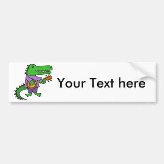 Funny Alligator Playing Banjo Cartoon Bumper Sticker