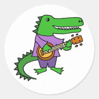 Funny Alligator Playing Banjo Cartoon Classic Round Sticker
