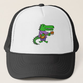 Funny Alligator Playing Banjo Cartoon Trucker Hat