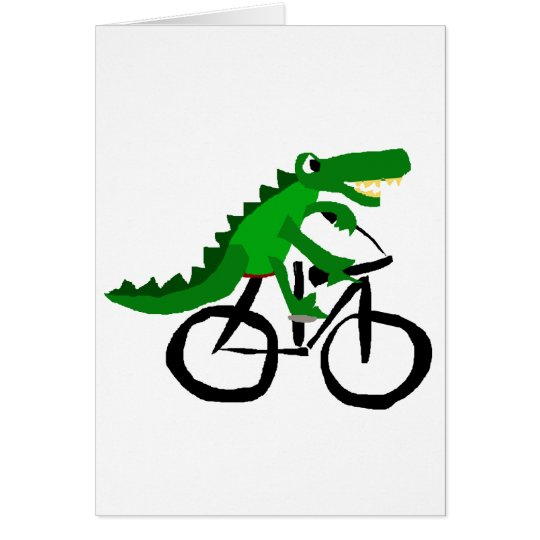 Funny Alligator Riding Bicycle Card