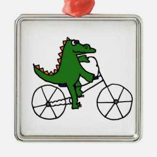 Funny Alligator Riding Bicycle Cartoon Metal Ornament