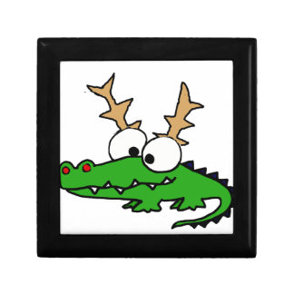 Funny Alligator with Antlers Christmas Art Gift Box