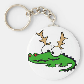Funny Alligator with Antlers Christmas Art Keychain