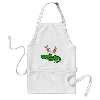 Funny Alligator with Antlers Christmas Art Standard Apron